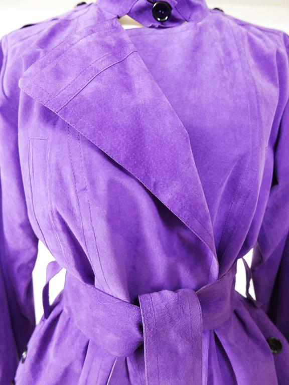 YVES SAINT LAURENT Rive Gauche Purple Suede Leather Jacket For Sale 2