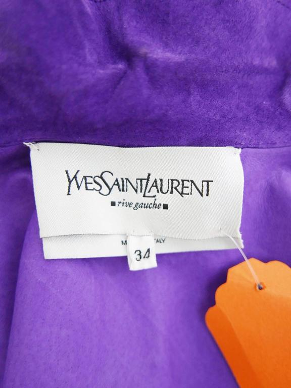 YVES SAINT LAURENT Rive Gauche Purple Suede Leather Jacket For Sale 3