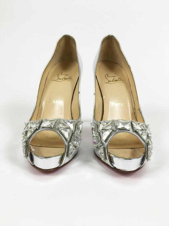 CHRISTIAN LOUBOUTIN Silver Leather Rhinestones Peep Toe Pumps Shoes 2