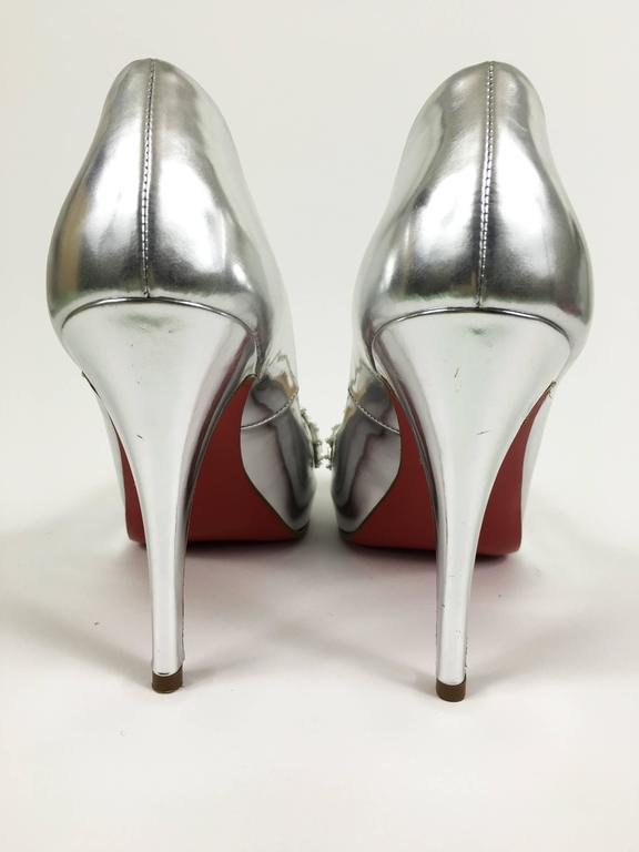 CHRISTIAN LOUBOUTIN Silver Leather Rhinestones Peep Toe Pumps Shoes 3