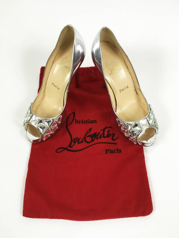 CHRISTIAN LOUBOUTIN Silver Leather Rhinestones Peep Toe Pumps Shoes 4