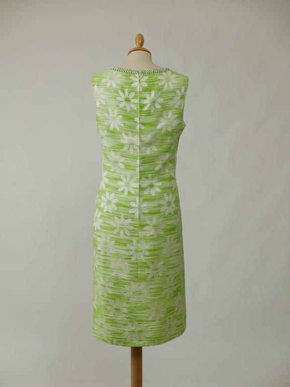 1960s apple green beadeds embroidered cocktail mod dress for Apple green dress shirt