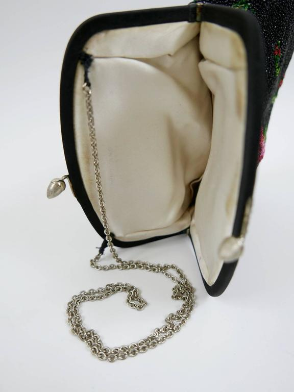 Black 1950s PIROVANO Italian Couture Floral Embroidered Beadeds Purse Handbag For Sale