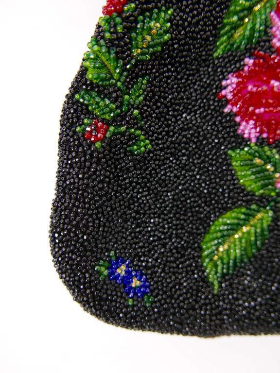 1950s PIROVANO Italian Couture Floral Embroidered Beadeds Purse Handbag For Sale 2