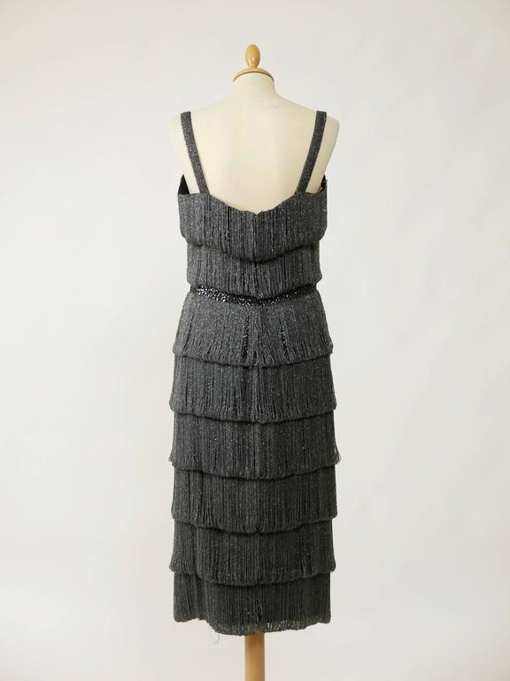 1960s PIROVANO Italian Couture Gray Beadeds Fringe Bombshell Cocktail Dress In Good Condition For Sale In Milan, IT