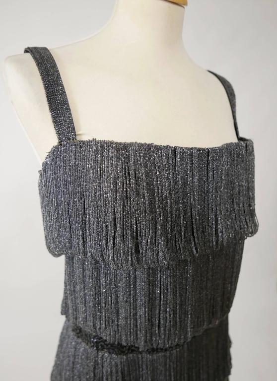 Women's 1960s PIROVANO Italian Couture Gray Beadeds Fringe Bombshell Cocktail Dress For Sale