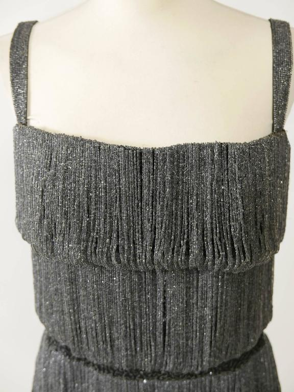 1960s PIROVANO Italian Couture Gray Beadeds Fringe Bombshell Cocktail Dress For Sale 1