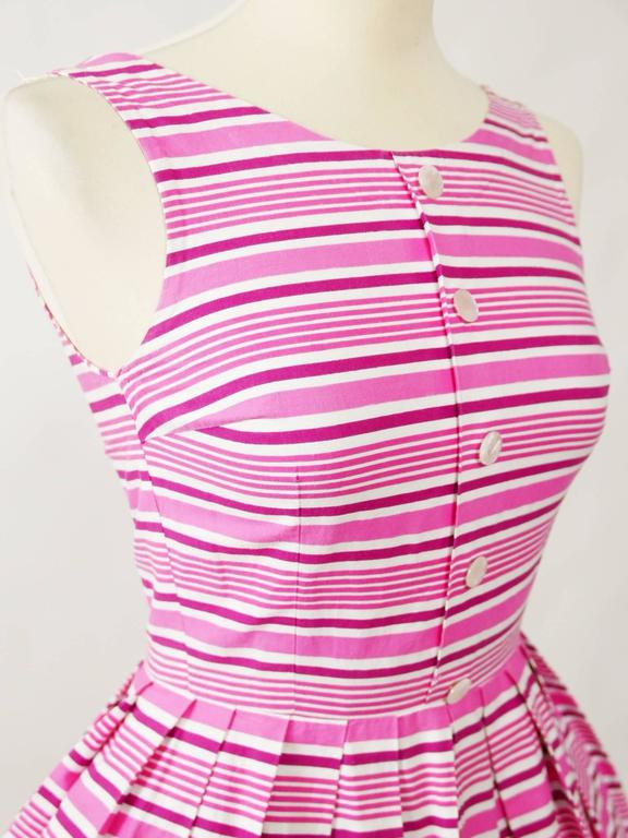 1950s Vintage Kittens Novelty Print Striped Pink Dress 4