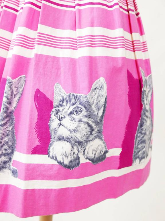 1950s Vintage Kittens Novelty Print Striped Pink Dress 6