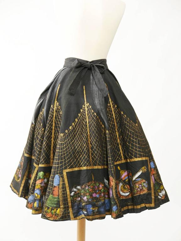 1950s Vintage Handpainted Mexican Full Circle Skirt 3