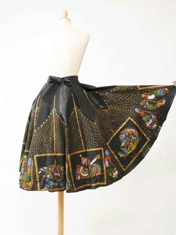 1950s Vintage Handpainted Mexican Full Circle Skirt 4