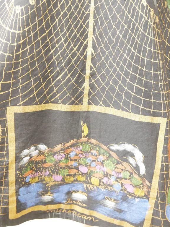 1950s Vintage Handpainted Mexican Full Circle Skirt 7