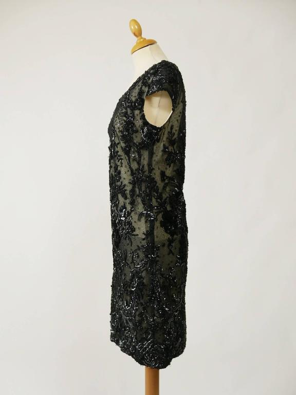 1960s Pirovano Italian Couture Black Sequins Embroidered Cocktail Mod Dress  2