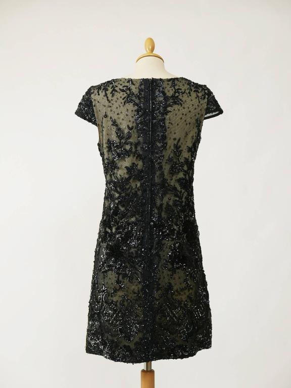 1960s Pirovano Italian Couture Black Sequins Embroidered Cocktail Mod Dress  3