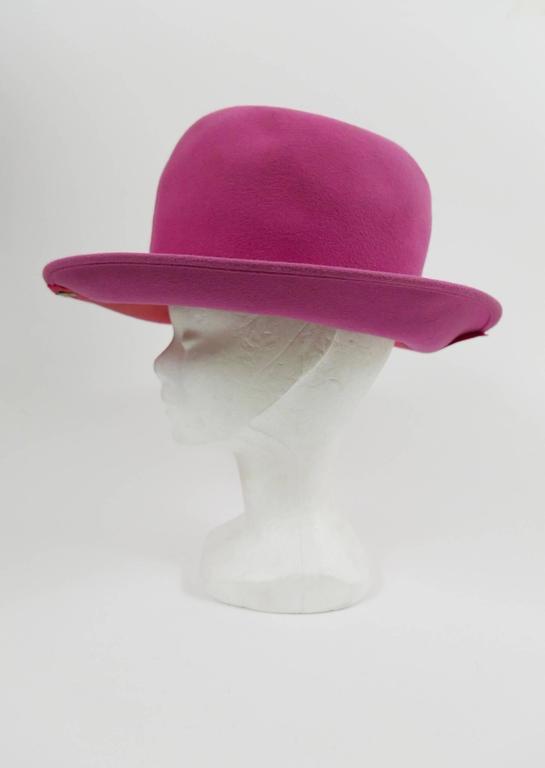 1990s ESCADA Pink Felt Zipper Hat 2