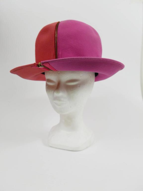 1990s ESCADA Pink Felt Zipper Hat 3