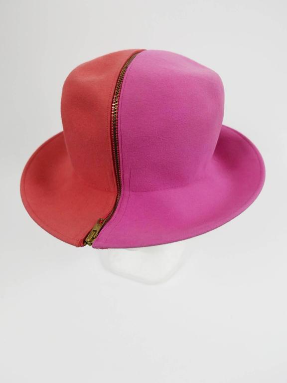 1990s ESCADA Pink Felt Zipper Hat 4