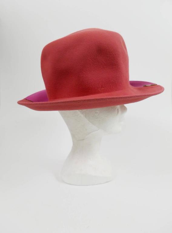 1990s ESCADA Pink Felt Zipper Hat 5