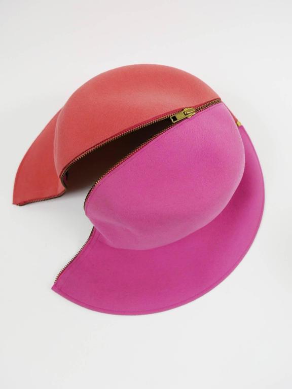 1990s ESCADA Pink Felt Zipper Hat 8