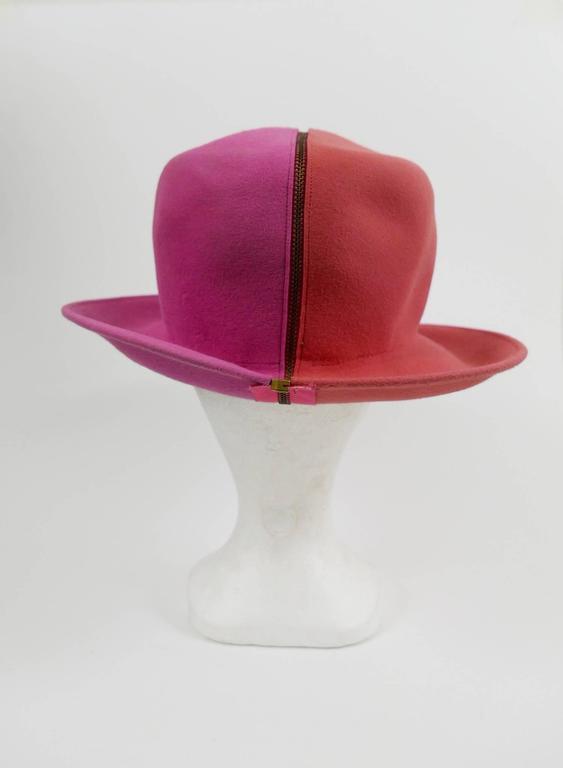 1990s ESCADA Pink Felt Zipper Hat 6