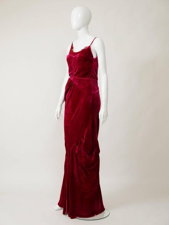 Christian Dior by John Galliano Red Silk Bias Cut Evening Dress In Excellent Condition For Sale In Milan, Italy