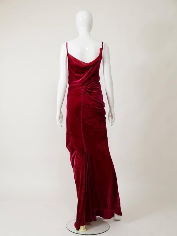 Women's Christian Dior by John Galliano Red Silk Bias Cut Evening Dress For Sale