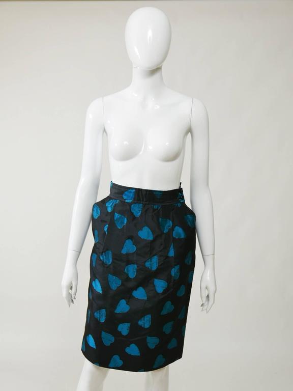 1980s UNGARO Black Taffeta Hearts Print 2 pc Suit Dress 4