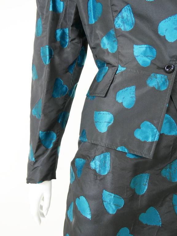 1980s UNGARO Black Taffeta Hearts Print 2 pc Suit Dress 5