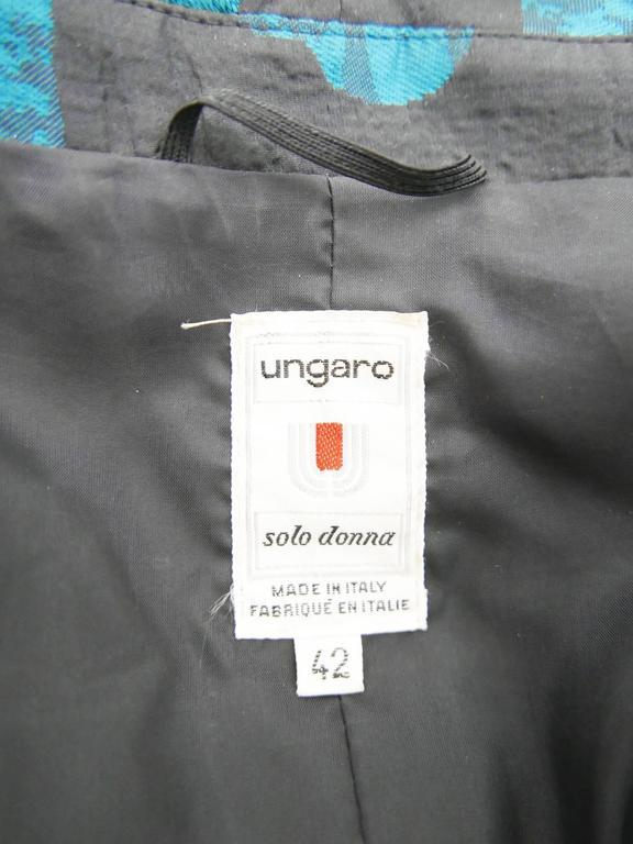 1980s UNGARO Black Taffeta Hearts Print 2 pc Suit Dress 7