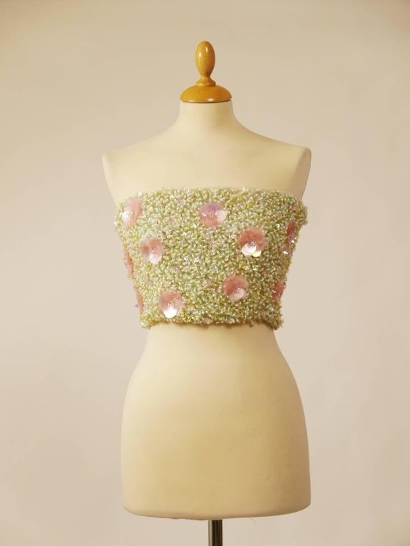 1980s Callaghan Beadeds Sequins Top Bustier 2