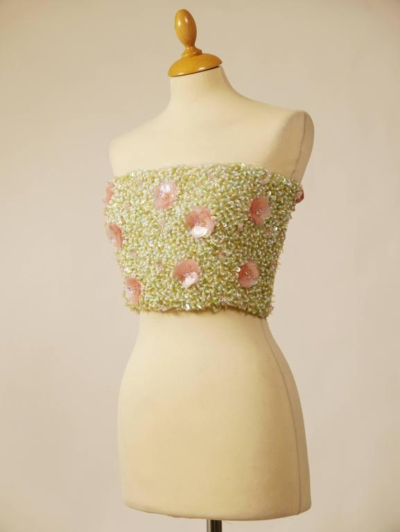 1980s Callaghan Beadeds Sequins Top Bustier 4