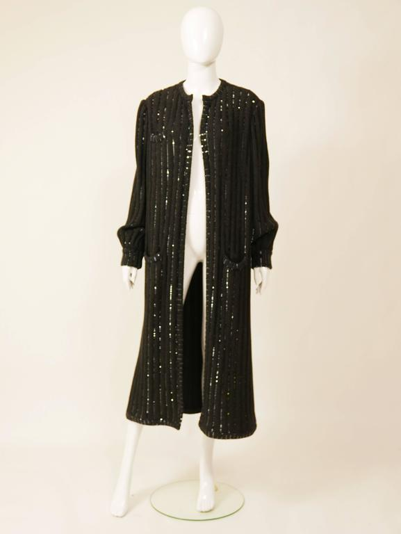 1980s VALENTINO Boutique Black Sequins Sweater Coat 2