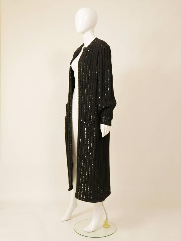 1980s VALENTINO Boutique Black Sequins Sweater Coat 3