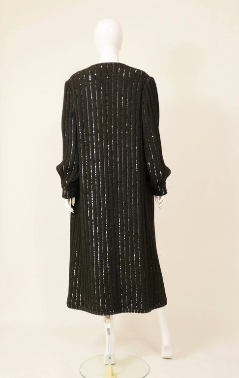 1980s VALENTINO Boutique Black Sequins Sweater Coat 4