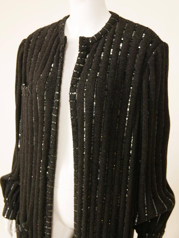 1980s VALENTINO Boutique Black Sequins Sweater Coat 5