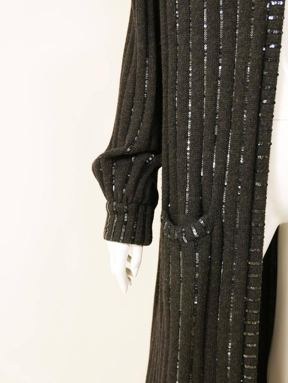 1980s VALENTINO Boutique Black Sequins Sweater Coat 6