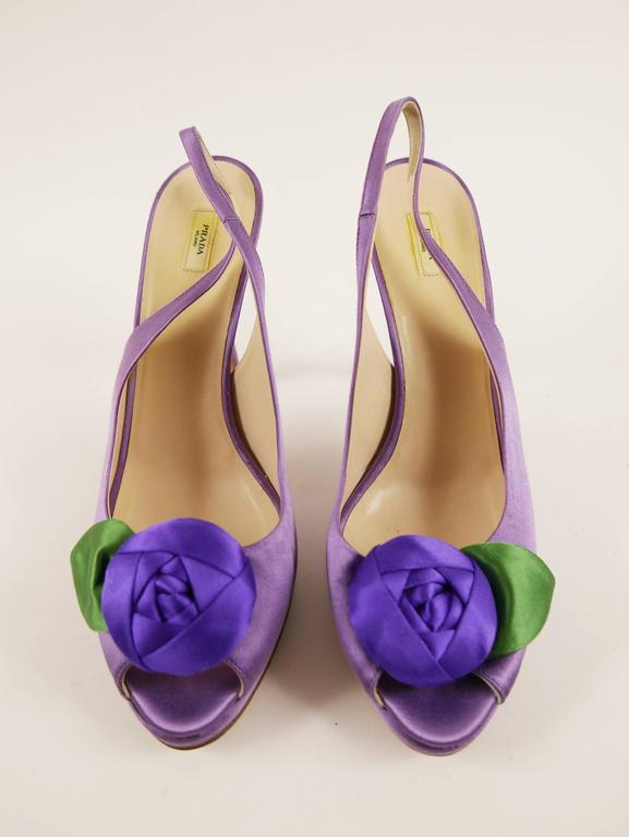 Gray PRADA Purple Satin Rose Peep Toe Pumps Stiletto Shoes For Sale