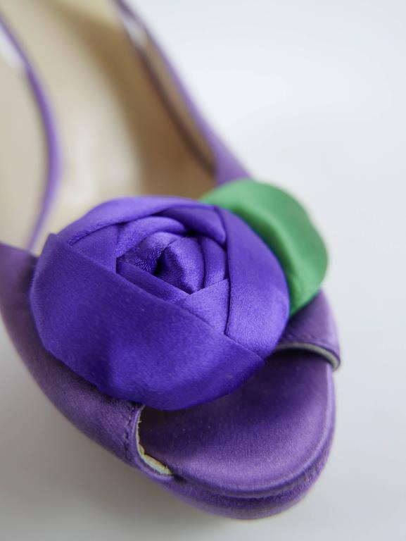 Women's PRADA Purple Satin Rose Peep Toe Pumps Stiletto Shoes For Sale