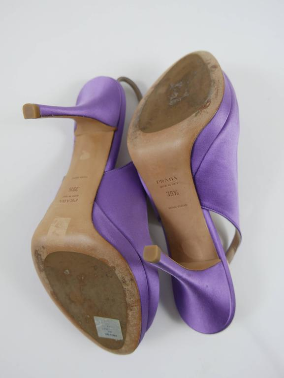 PRADA Purple Satin Rose Peep Toe Pumps Stiletto Shoes 6