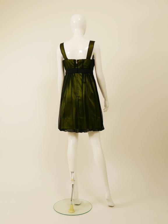 DOLCE & GABBANA Black Sheer and Green Satin Embroidered Cocktail Dress In Excellent Condition For Sale In Milan, Italy