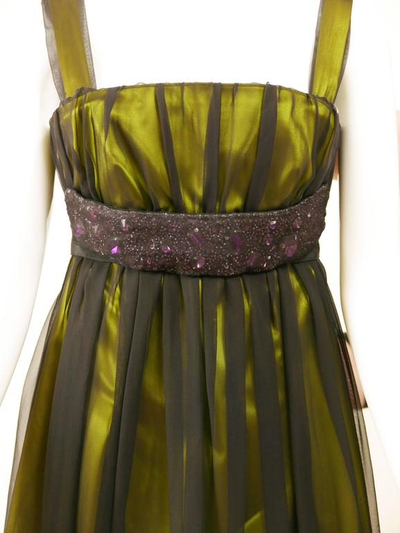 DOLCE & GABBANA Black Sheer and Green Satin Embroidered Cocktail Dress For Sale 1