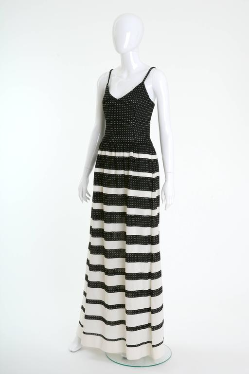 1970s LANVIN Black and White Knitted Long Dress In Excellent Condition For Sale In Milan, IT