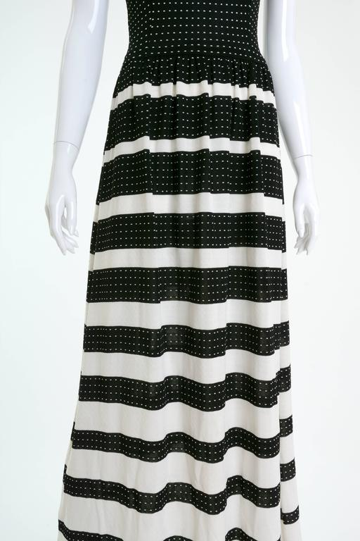 Women's 1970s LANVIN Black and White Knitted Long Dress For Sale