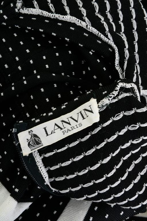 1970s LANVIN Black and White Knitted Long Dress For Sale 1