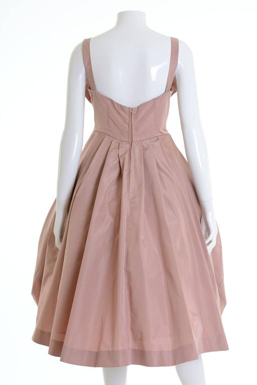 Brown 1950s Italian Couture Powder Pink Taffeta Cocktail Dress For Sale