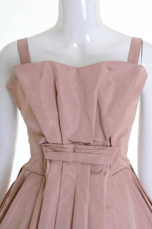 1950s Italian Couture Powder Pink Taffeta Cocktail Dress 4