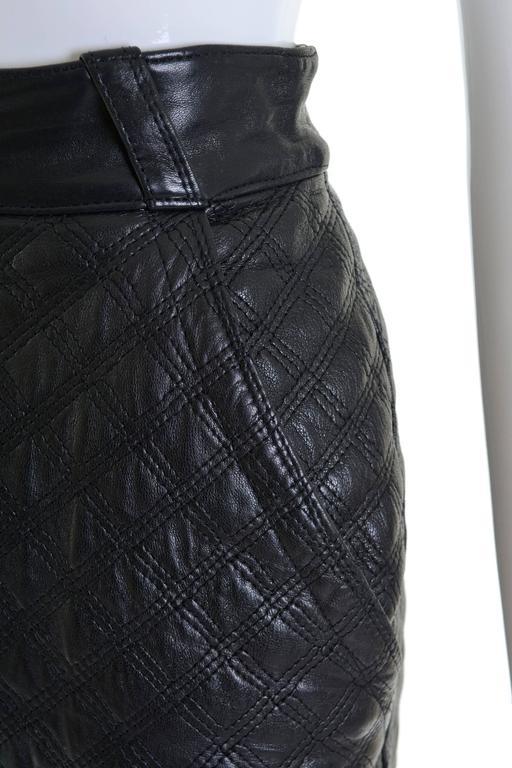 1980s GIANNI VERSACE Black Leather Suit Dress 4