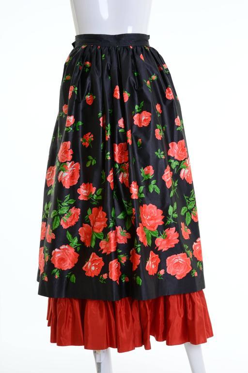 Black 1980s Saint Laurent Rive Gauche Silk Floral Print Maxi Skirt For Sale