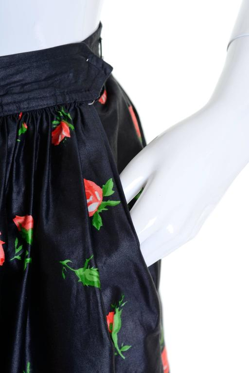 1980s Saint Laurent Rive Gauche Silk Floral Print Maxi Skirt In Good Condition For Sale In Milan, Italy