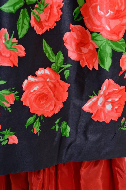 Women's 1980s Saint Laurent Rive Gauche Silk Floral Print Maxi Skirt For Sale